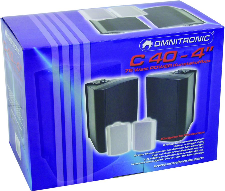 Fotografie Omnitronic C-40 bílé, reproboxy 75W