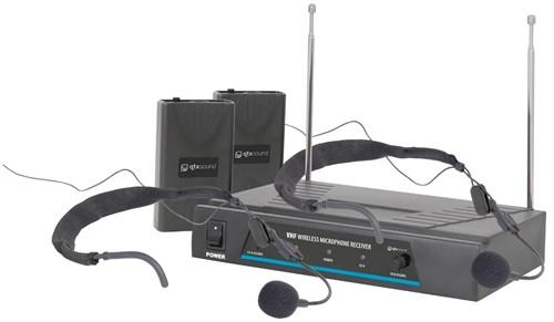 Fotografie QTX VHF-HS2 bezdrátový mikrofon, 2 kanálový, 173,8 + 174,8 MHz
