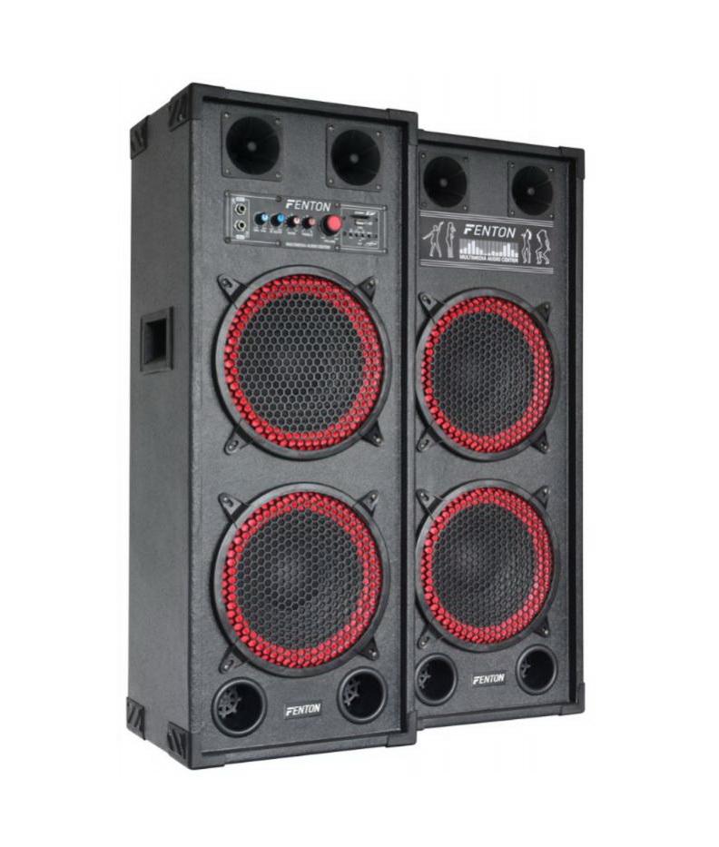 "Fenton SPB-210 PA Set aktivních reproboxů 2x 10"", USB, SD, MP3, 2x 600W"