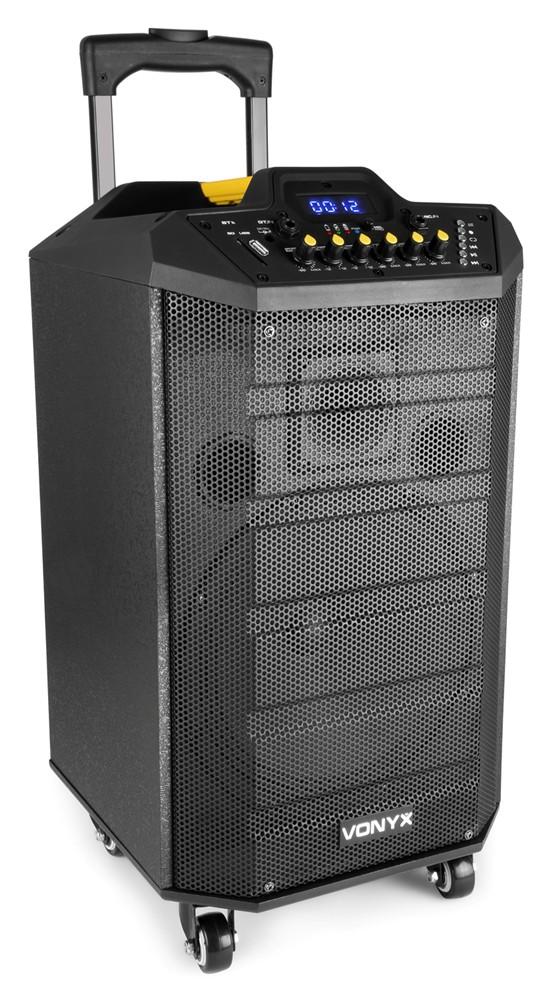 Vonyx VPS10, řečnický systém s MP3 a Bluetooth, UH mikrofon, akumulátor, 150W
