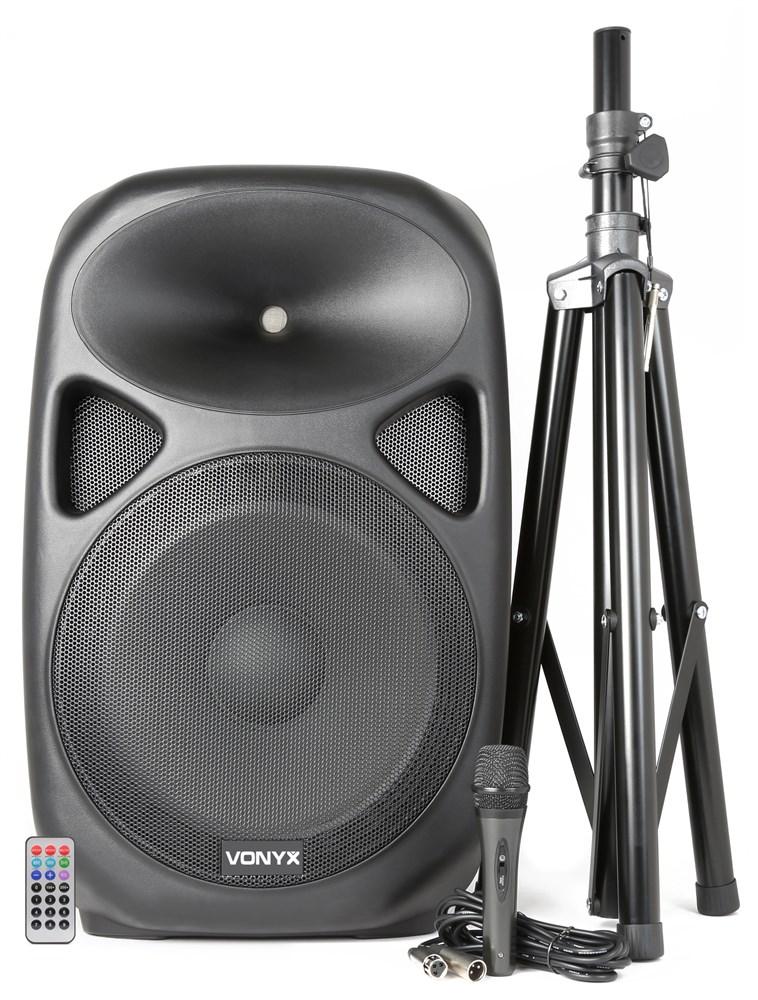 """Vonyx SPS152 aktivní 15"""" reprobox MP3/USB/SD/BT se stativem a mikrofonem, 300W"""