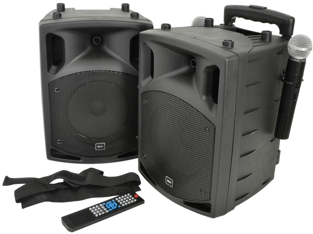 "QTX PAV-8, přenosný 8"" zvukový systém CD-DVD-USB-Bluetooth, 2xUHF, 2x50W"