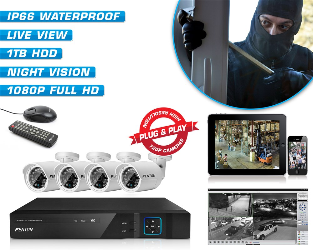 Fenton HD CCTV kamerový systém 4 kamery s vysokým rozlišením