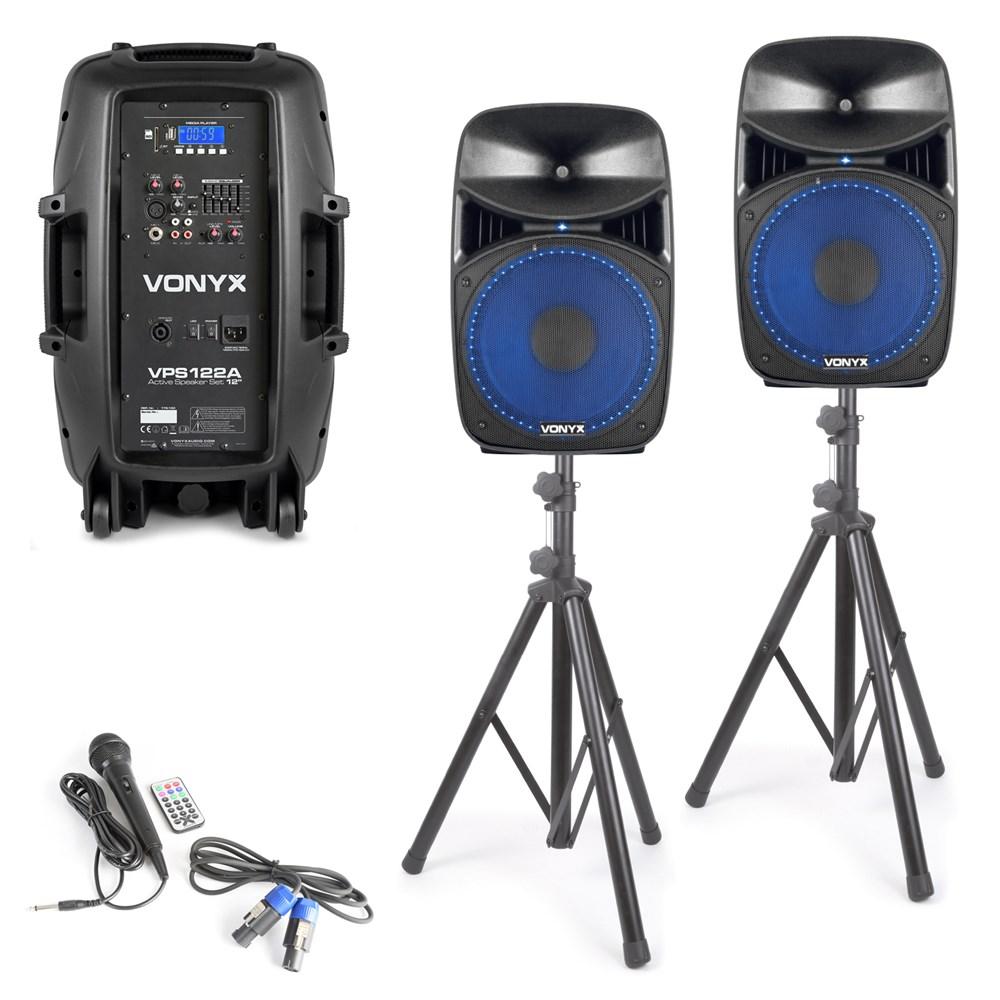 Vonyx VPS122A aktivní reproboxy, stojany, USB, SD, MP3, mikrofon, BT, LED, 800W