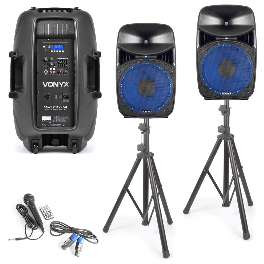 Vonyx VPS152A aktivní reproboxy, stojany, USB, SD, MP3, BT, mikrofon, LED, 1000W