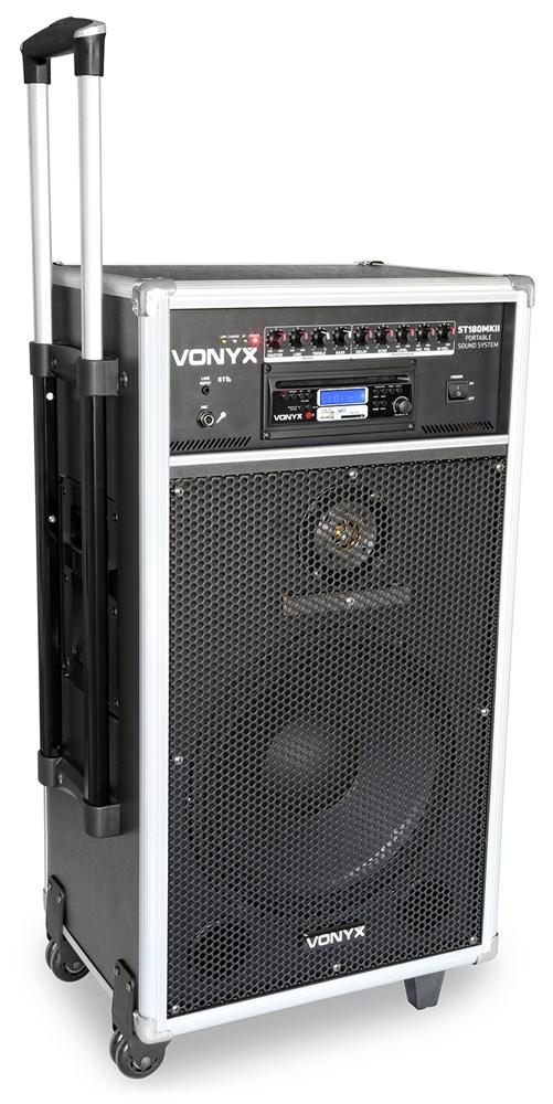 "Vonyx ST180, mobilní 12"" karaoke zvukový systém, 450W, CD/MP3/SD/USB/BT, 2x UHF"