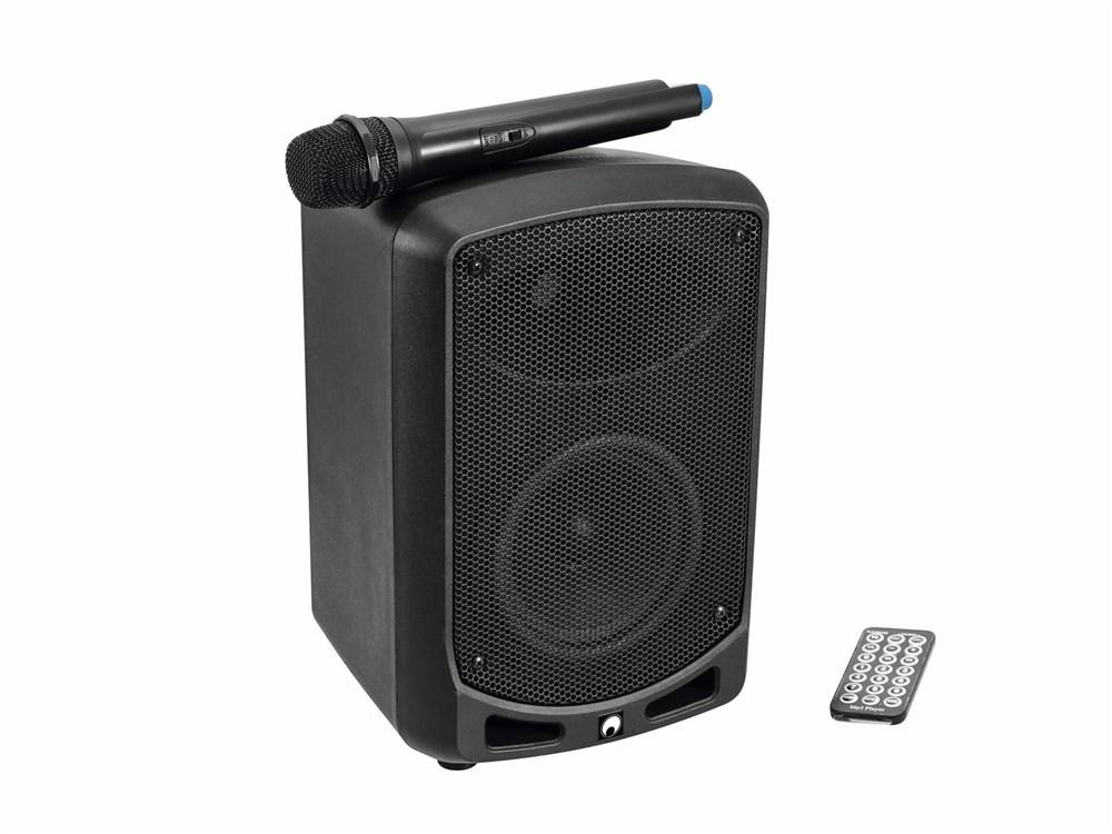 Omnitronic WAMS-65BT, bezdrátový PA system, UHF mikrofon, MP3, BT, IR, AKU, 60W